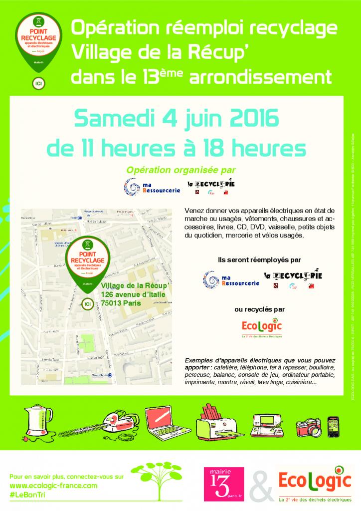 Affiche A3 - Collecte d'appareils électriques Paris 13e - 4 juin 2016